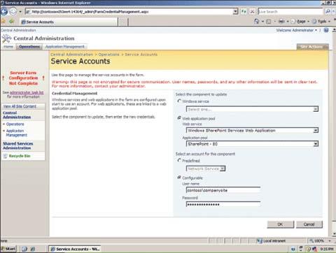 Экран 1. Задание учетных записей служб пулов Web-приложений