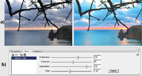 Рис. 4. Использование фильтра Adjust Color: а — исходный и «отфильтрованный» рисунки; b — панель Filters
