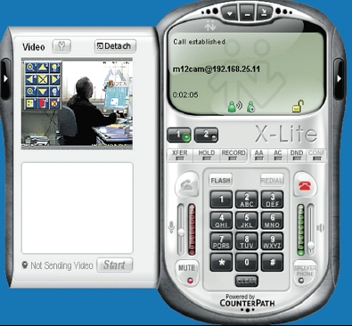 Рисунок 3. Программный видеотелефон X-Lite обеспечивает видео- и звуковой контакт с внешним устройством Mobotix. C помощью