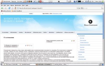 Интерфейс администратора сайта
