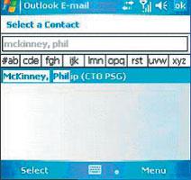 Экран 3 . Выбор контакта изпоиска каталогов