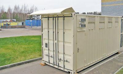 Рисунок 9. Базовая модель «Датериум» — это МЦОД класса «все включено», собранный на базе модифицированного транспортного контейнера (длиной 20 футов), оснащенный комплексом инженерных систем и оборудованный семью стандартными стойками высотой 42U, куда можно устанавливать оборудование различных производителей с общим энергопотреблением до 32 кВт.