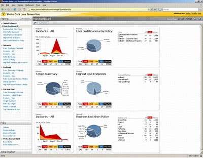 Vontu генерирует отчеты, которые могут быть использованы компаний при аудите на соответствие различным стандартам безопасности