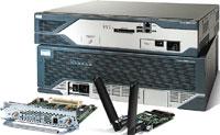 Рисунок 1. Модульные маршрутизаторы ISR компании Cisco с модулями VSAT и WLAN.