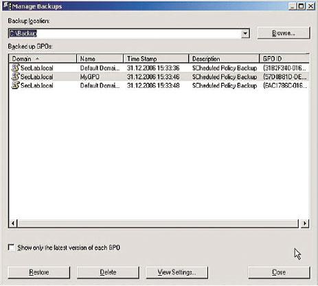 Рисунок 12. Это просто: управление резервными копиями директив при помощи GPMC.