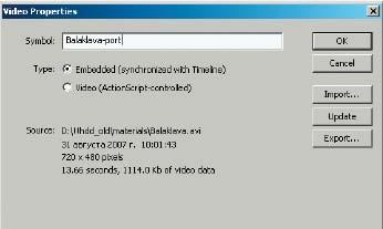 Рис. 2. Панель Video Properties