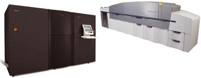 Цифровые технологии печати перестали быть экзотикой: WMSG из Далласа берётся за исполнение заказов любой тиражности цифровым способом – типография удвоила количество своих машин NexPress, установив ещё шесть моделей 2500 (сверху); InfoPrint Solutions 5000 (слева) отражает тенденцию перехода к цветным цифровым системам рулонной печати