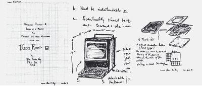 Устройство детского компьютера в набросках Алана Кея. (Иллюстрация: IEEE Annals of the History of computing. C разрешения Алана Кея