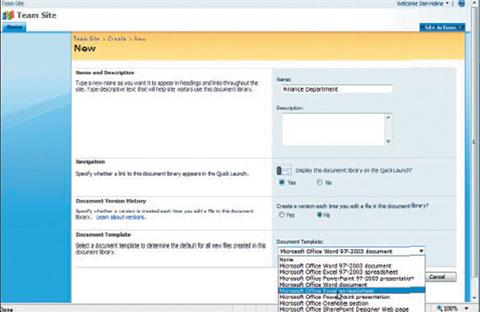 Экран 1. Создание библиотеки документов SharePoint