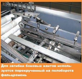 Для загибки боковых кантов используется перекрученный на полоборота фальцремень