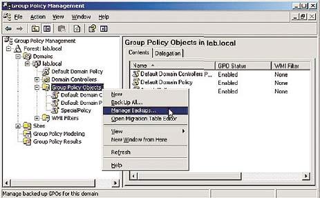 Рисунок 11. Удобное управление сохранением данных о директивах благодаря наличию консоли управления групповыми директивами.