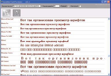 Просмотр шрифтов с помощью программы iFP