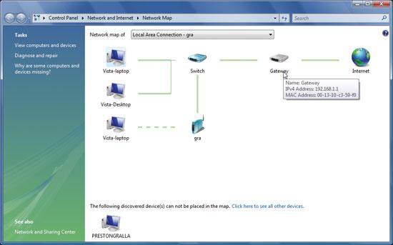 Vista Network Map покажет все ПК и устройства вашей сети и предоставит детальную информацию о них, включая IP- и Mac-адреса