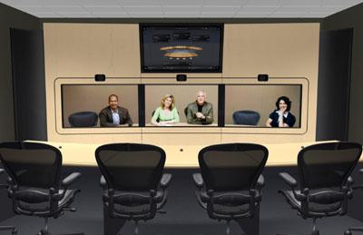 В комплект HP Halo Collaboration Center видеоконференц-связи включены два или четыре кресла, переносные фальшстены, стол, видеокамера высокого разрешения, широкоформатный монитор и соответствующее аудио- и коммутационное оборудование