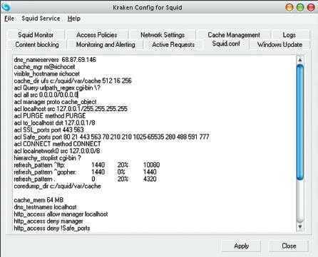 Экран 1 . Файл конфигурации в Kraken Config for Squid