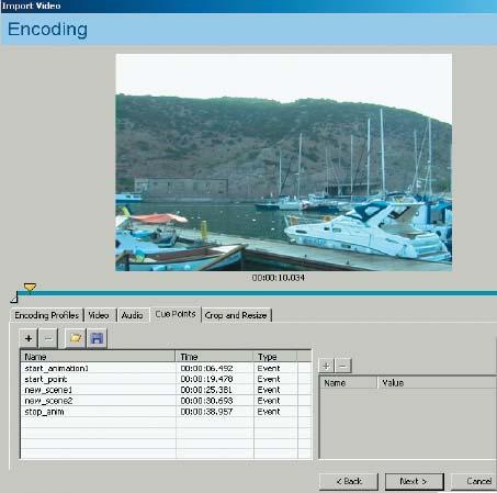Рис. 3. Вкладка Cue Points диалогового окна Encoding