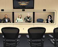 Вкомплект HP Halo Collaboration Center видео?кон?фе?ренц-связи включены два или четыре кресла, переносные фальшстены, стол, видеокамера высокого разрешения, широкоформатный монитор исоответствующее аудио- икоммутационное оборудование