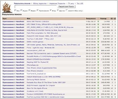 Pirate Bay посещает около 2млн. пользователей вдень. Этот сайт является поисковой системой для так называемых «торрентов»— небольших файлов, предназначенных для организации обмена информацией между компьютерами через одноранговые сети