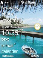 «Домашний экран» Windows Mo?bi?le6.5 представляет собой список слов, написанных четким, крупным шрифтом иотсылает пользователей кразличным приложениям