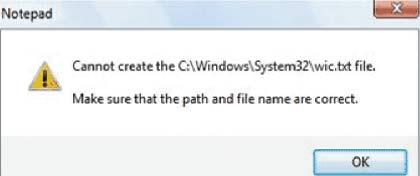 Экран 1. Сообщение об ошибке, отображаемое, когда пользователи пытаются выполнить запись вфайл суровнем целостности, превышающим их собственный