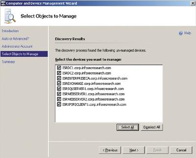 Экран 2. Выбор устройств для управления в Essentials 2007