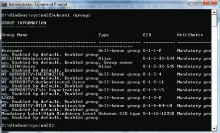 Экран 3. Уровень целостности, отображаемый вмаркере доступа учетной записи (просмотрсиспользованием Whoami)