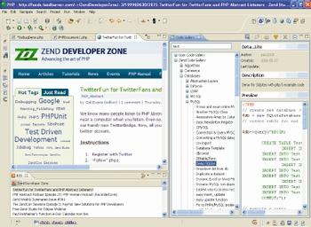 Представители компании Zend продемонстрировали на конференции новую версию программного обеспечения Zend Studio 6.1, тесно интегрированную сZend Framework иDojo AJAX. Версия 6.1 построена на основе платформы Eclipse 3.4 иоснащена визуальным построителем запросов кбазам данных