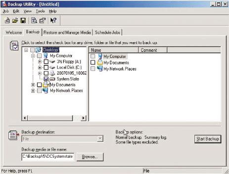 Рисунок 1. Сохранение системного состояния на контроллере домена с помощью NTBackup.