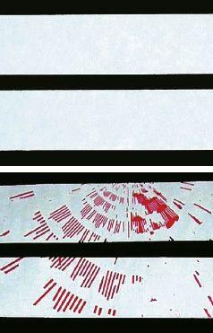 Рис. 2. Результаты скотч-теста, подтверждающие преимущества сеток со специально обработанной поверхностью (вверху). Отсутствие следов эмульсии на скотче — признак хорошего закрепления копировального слоя. Внизу — результат теста на обычной сетке