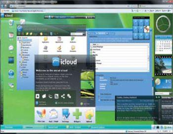 Довольно интересный путь избрали разработчики системы Xcerion icloud. Они сделали акцент на возможностях совместной работы пользователей онлайновых ОС — на быстром обмене файлами и сообщениями. Весьма функциональный интерфейс данной системы выдержан в стиле Windows Vista — пользователя встречают полупрозрачные заголовки окон, приятные формы, боковая панель полезных гаджетов