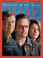 Два года назад журнал Time признал Боно, Билла иМелинду Гейтс людьми года