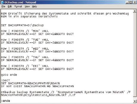 Рисунок 2. Ежедневное сохранение системного состояния с помощью командного файла. Идеальная база для проведения ежедневных сохранений, с управлением посредством планировщика задач.