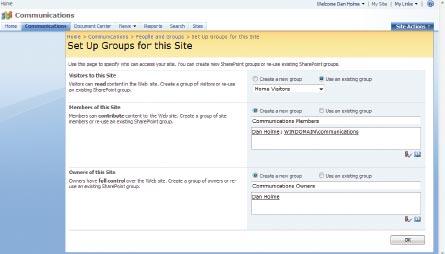 Экран 4 . Страница назначения групп для данного сайта