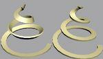 Рис. 10. Объект, построенный методом лофтинга по сечению в форме прямоугольника и пути-спирали при установленном (слева) и сброшенном (справа) флажке «Крен»