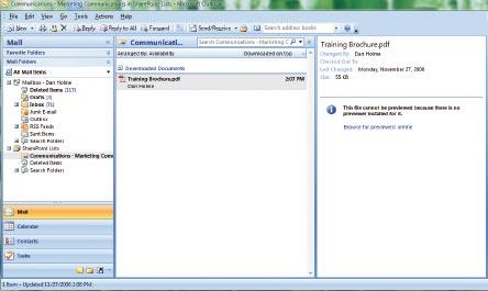 Экран 6 . Библиотека документов вOutlook