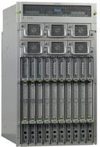 Рисунок 3. Шасси Sun Blade 8000 (Andromeda) высотой 19U вмещает десять модульных серверов, имеет 20 портов FC и десять портов GbE. По данным Sun, оно обладает более высокой пропускной способностью ввода/вывода и плотностью по сравнению с конкурентными модульными серверами.