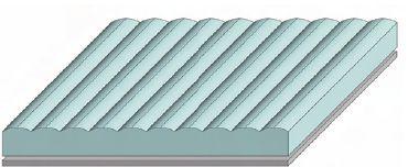 Рис. 1. Лентикулярная плёнка состоит из расположенных параллельно цилиндрических линз и запечатывается (см. далее) с оборотной стороны