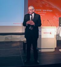 Вице-президент Xerox Europe (Production& Graphic Arts Industry) Валентин Говаерц объявил, что компания будет демонстрировать гибридные техпроцессы — для этого на стенде Xerox установят офсетную машину Heidelberg