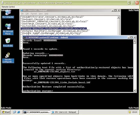Рисунок 5. NTDSUtil.exe находит обратные ссылки, поэтому необходимо провести дополнительную работу.