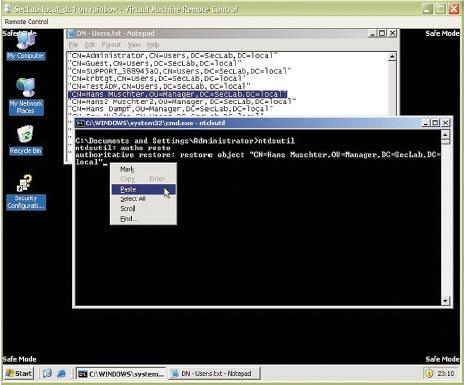 Рисунок 4. Предотвращение неправильного ввода: работа с NTDSUtil.exe через буфер обмена данными.