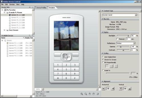 Рис. 9. Панель Adobe Device Central