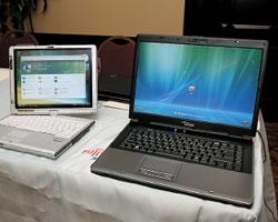 Модели Fujitsu Siemens Lifebook T4220 (слева) иAmilo Xi 2428 предлагают разные подходы корганизации рабочего пространства