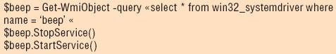 Листинг 2. Запуск/остановка драйвера сиспользованием PowerShell