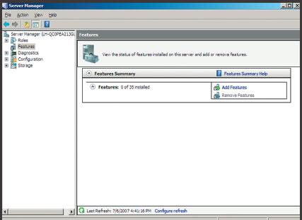 Экран 1. Окно Server Manager для установки дополнительныхфункций