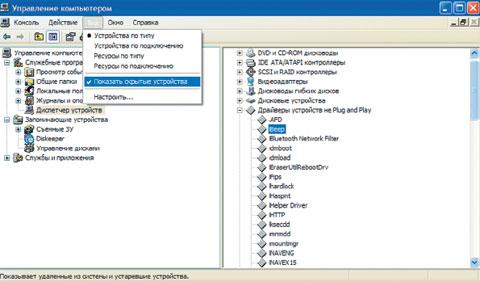 Экран 2. Менеджер устройства, не соответствующего требованиям PnP