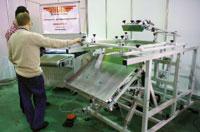Стенд КБНТ. Трафаретный полуавтоматический плоскопечатный станок ПАФ8 может комплектоваться печатными столами макс. формата 1400в1000 мм