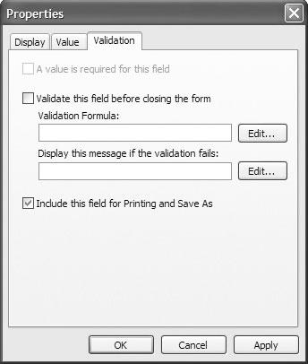 Экран 1. Вкладка Validation в окне Properties.