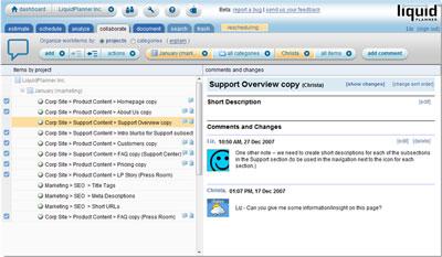 Сервис LiquidPlanner поддерживает ряд функций социальных сетей, в том числе возможность совместно работать над документами в стиле, подобном тому, который принят в wiki