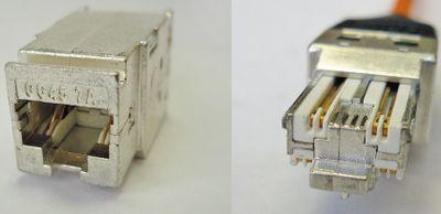 Рисунок 5. Соединитель LANmark-7A GG457A, работающий в двух режимах: а) гнездовая часть, б) разъем.