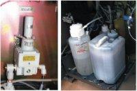 С помощью помпы смывка подаётся к печатающим головкам, а отходы сливаются в танк